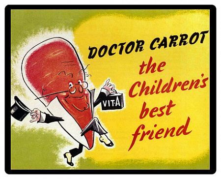 Ministry of Food 1940s UK characters carrots logos dr carrot