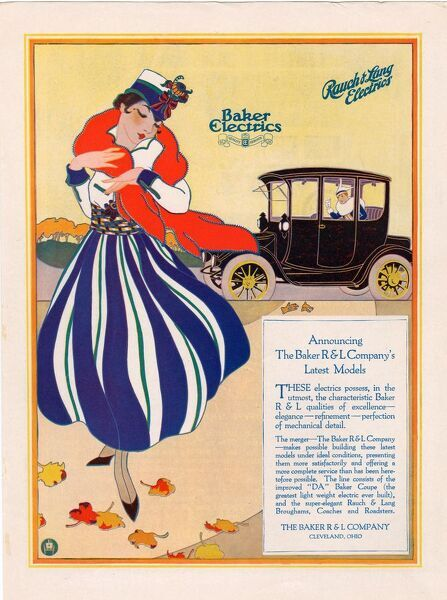Baker Electric Cars 1910s USA cc cars womens skirts stripes hats wraps seasons autumn windy winds