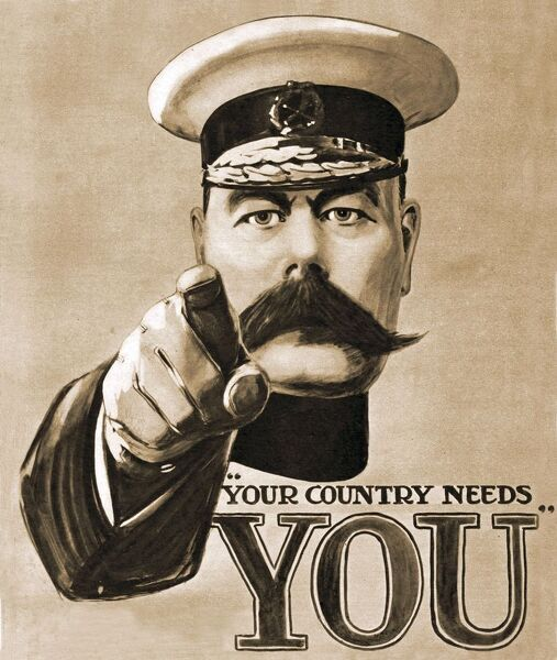 Your Country Needs You Recruitment 1914 1910s UK Lord Kitchener propaganda WW1 slogans patriotism Caxton  Alfred Leete, Eric Field (Copywriter)