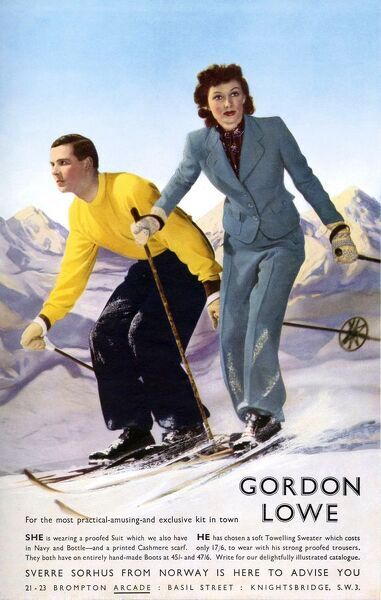 Gordon Lowe 1930s UK mens womens skiing suits humour couples