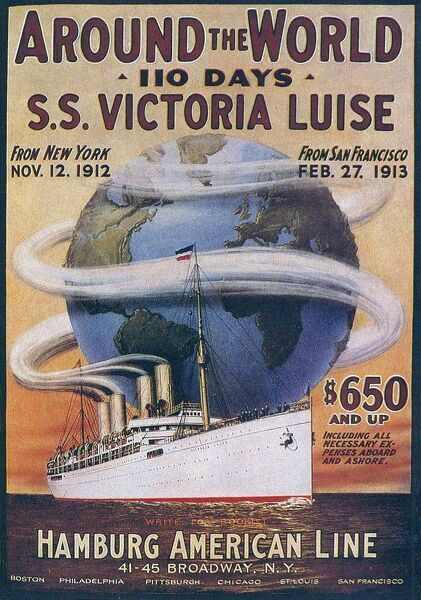 Hamburg American Line  1912 1910s USA boats cruises around the world ships liners