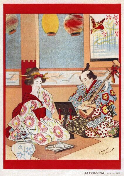 Japanese Music scene 1898 1890s Japan cc japanese tea instruments musical