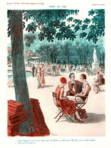 La Vie Parisienne 1920s France cc friends parks summer gossiping chatting women