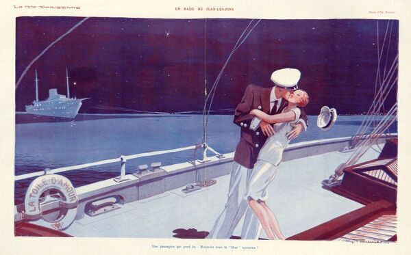 La Vie Parisienne 1929 1920s France cc boats embracing hugging kissing captain sailing ships kisses cruises