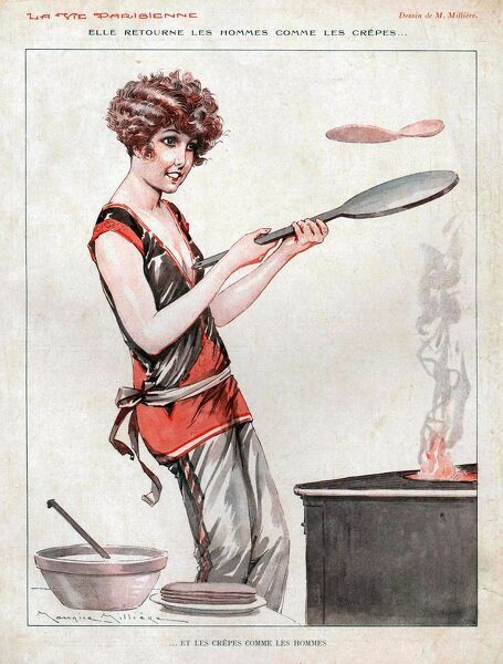 La Vie Parisienne 1929 1920s France  cc cooking pancakes day shrove tuesday