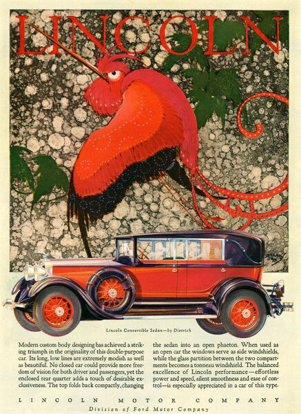 Lincoln 1928 1920s USA cc cars birds exotic
