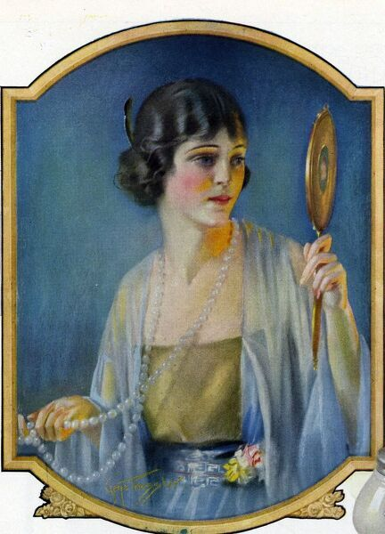 Pompean  1920s USA CC make-up vanity mirrors pearls womens day cream beauty