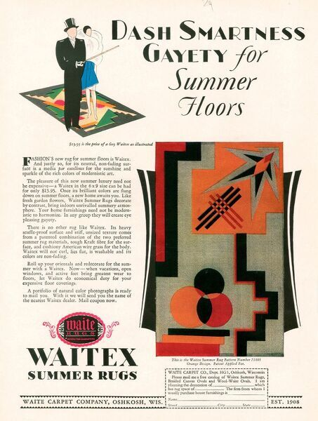Waitex 1929 1920s USA cc gay interiors floor coverings