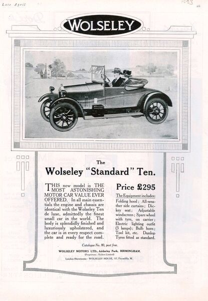 Wolseley 1923 1920s USA cc cars