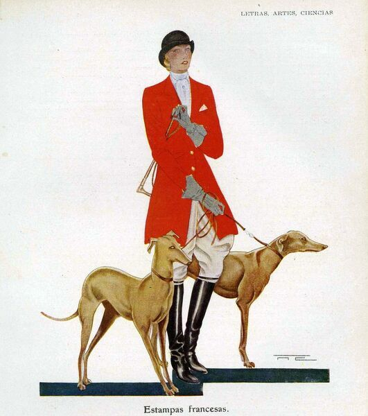 Woman in Hunting outfit with hounds 1929 1920s Spain cc hunting fox riding hounds dogs fox-hunting cruel sports