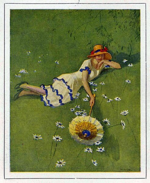 Woman on lawn with daisies 1929 1920s France cc relaxing sunbathing umbrellas hats