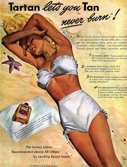 1940s USA tartan suntans sunbathing lotions swim suits swimwear swimming costumes