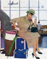American Airlines 1953 1950s USA Al Parker waiting luggage airports delays disasters