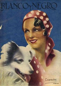 Blanco y Negro 1934 1930s Spain cc portraits dogs hats womens