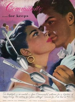 Community Cutlery 1952 1950s USA kissing kisses