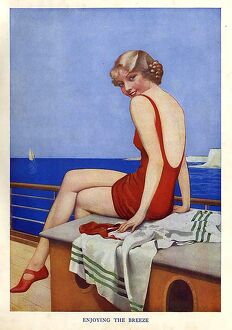 Enjoying The Breeze 1950s UK mcitnt story illustrations womens swimming costumes