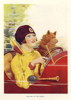 The Girl At The Wheel 1930s UK C.P Shilton mcitnt woman womenA•s drivers cars dogs