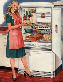 Hotpoint 1940s USA kitchens fridges housewife housewives cooking woman women in kitchen