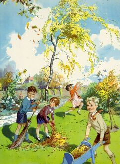 Infant School Illustrations 1950s UK Autumn seasons gardens winds windy leaves Enid