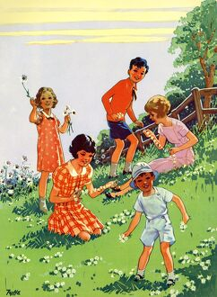 Infant School Illustrations 1950s UK picking flowers Enid Blyton