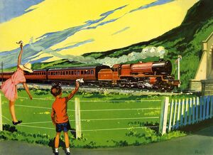 Infant School Illustrations 1950s UK railways trains Enid Blyton