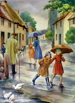 Infant School Illustrations 1950s UK raining umbrellas Enid Blyton winter weather