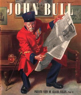 John Bull 1947 1940s UK chelsea pensioners reading newspapers magazines
