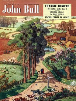John Bull 1950 1950s UK country roads, countryside, farms, a walk in the, summer