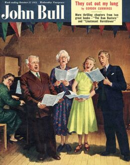 John Bull 1951 1950s UK singing, choirs practice, the villages halls magazines