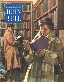 John Bull 1952 1950s UK love libraries library people reading books magazines