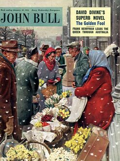 John Bull 1954 1950s UK flowers stalls snowing shopping markets winter cold weather