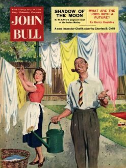 John Bull 1956 1950s UK washday washing lines housewife housewives magazines