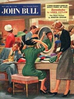 John Bull 1956 1950s UK womens hats shopping bored husbands couples sales magazines