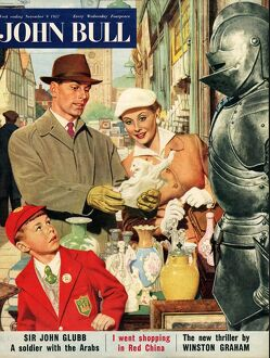 John Bull 1957 1950s UK couples schoolboys antiques markets shopping armour magazines