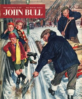 John Bull 1957 1950s UK snow ice cold road sweepers winter seasons magazines