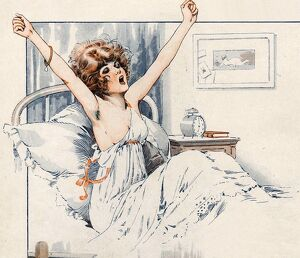 La Vie Parisienne 1919 1910s France Maurice Milliere waking up waking-up yawning