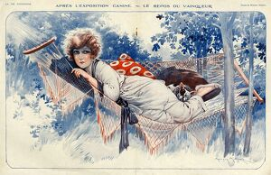 La Vie Parisienne 1920s France Maurice Milliere hammocks dogs relaxing gardens