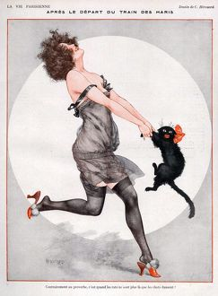 La Vie Parisienne 1923 1920s France C Herouard illustrations erotica dancing cats