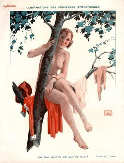 Le Sourire 1920s France glamour erotica naturists naked climbing trees nudes magazines