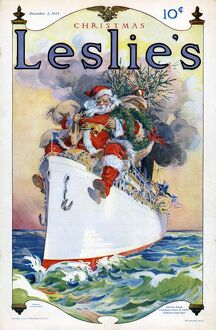 LeslieA•s 1914 1910s USA Father Christmas Santa Claus ships cruises magazines