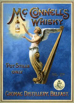 McConnellA•s 1898 1890s UK whisky alcohol whiskey advert McConnells Irish harps