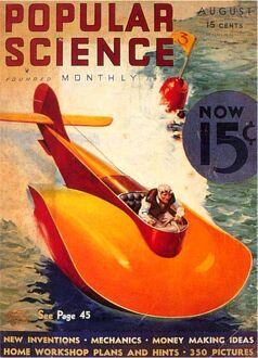 Popular Science 1930s USA visions of the future aeroplanes boats futuristic magazines