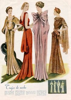 Spanish Fashion Evening Dresses 1935 1930s Spain cc pattern books womens dresses