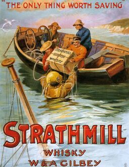 Strathmill 1900s UK whisky alcohol whiskey advert Scotch Scottish boats