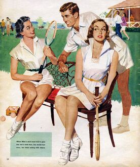 Tennis 1953 1950s UK Maudson tennis players flirting gossips gossiping mens womens