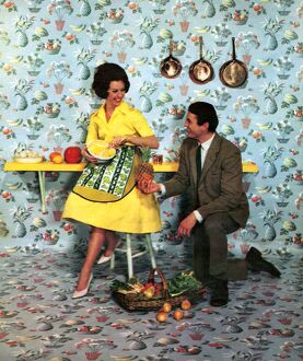 The Wallpaper Manufacturers Limited 1960s UK humour wallpaper pineapples housewives