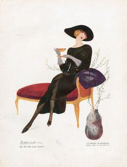 Woman Drinking Tea 1921 1920s Spain cc drinking tea afternoon furniture chaise longue